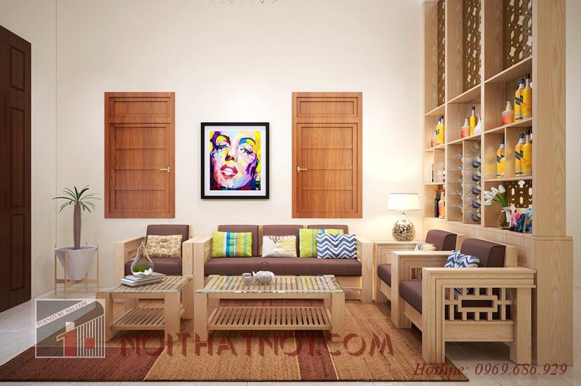 Mẫu bàn ghế sofa gỗ tự nhiên cao cấp