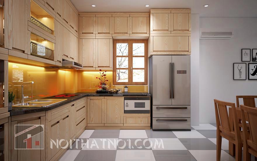 Phòng bếp đẹp nhờ gỗ tốt chất lượng